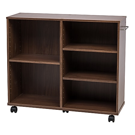 IRIS Deep Wooden Rolling Shelf, Dark Brown