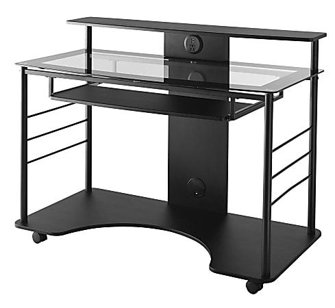 "Realspace® 47""W Mobile Tech Desk, Black"