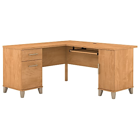 "Bush Furniture Somerset L Shaped Desk, 60""W, Maple Cross, Standard Delivery"