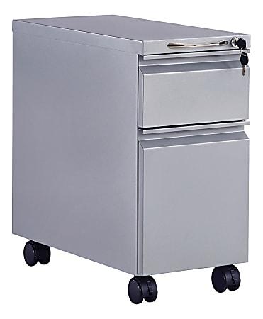 "Safco® Mini 22""D Vertical 2-Drawer Mobile Pedestal File Cabinet, Metal, Gray"