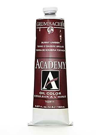 Grumbacher Academy Oil Colors, 5.07 Oz, Burnt Umber, Pack Of 2