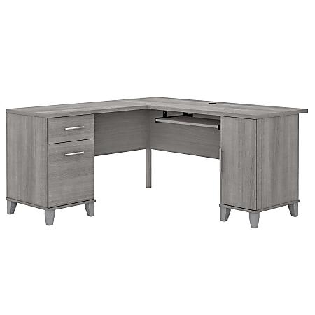 """Bush Furniture Somerset 60""""W L-Shaped Desk, Platinum Gray, Standard Delivery"""