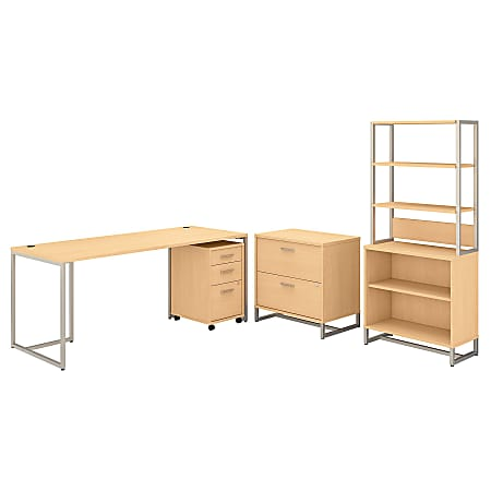 """kathy ireland® Office by Bush Business Furniture Method 72""""W Table Desk With File Cabinets And Bookcase, Natural Maple, Standard Delivery"""