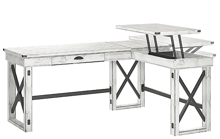 Ameriwood™ Home Wildwood L-Shaped Desk With Lift Top, Distressed Whitewash