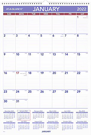 """AT-A-GLANCE® Monthly Wall Calendar, 15-1/2"""" x 22-3/4"""", January To December 2022, PM328"""