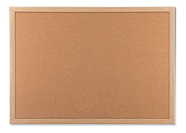 """U Brands Cork Bulletin Board, 48"""" x 36"""", Birch Finish Frame"""