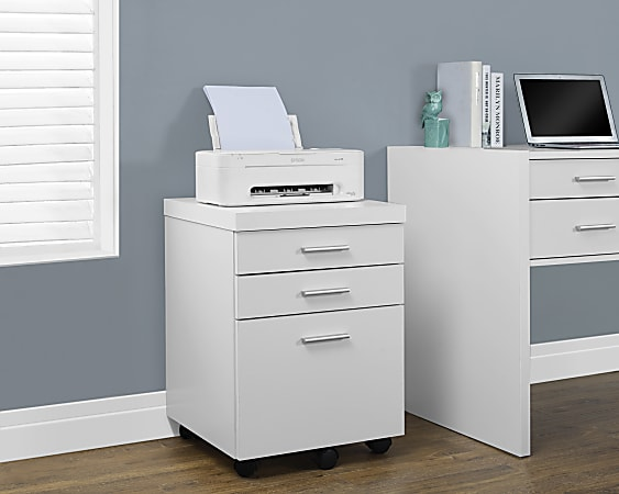 """Monarch Specialties 19""""D Vertical 3-Drawer File Cabinet, White"""