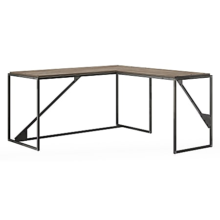 """Bush Furniture Refinery 62""""W L Shaped Industrial Desk With 37""""W Return, Rustic Gray/Charred Wood, Standard Delivery"""