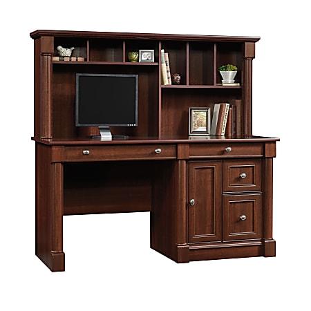 "Sauder® Palladia 60""W Computer Desk With Hutch, Select Cherry"