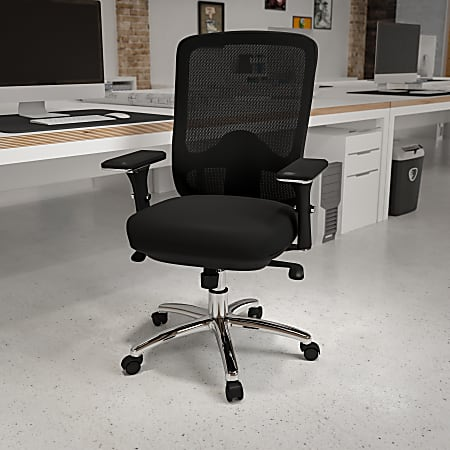 Flash Furniture HERCULES 24-7 Intensive Mesh Mid-Back Big And Tall Chair With Synchro Tilt, Black/Chrome