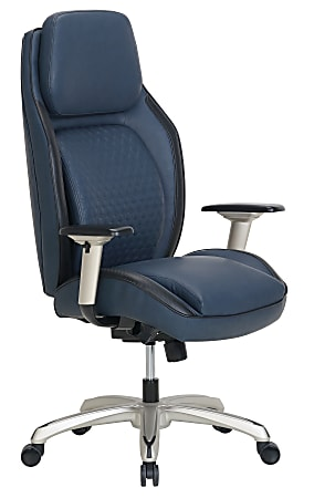Shaquille O'Neal™ Zephyrus Ergonomic Bonded Leather High-Back Executive Chair, Navy/Silver