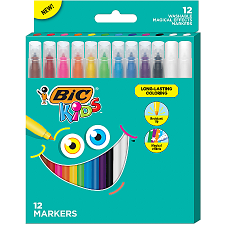 BIC® Kids Coloring Markers, Magical Effects, Assorted Colors, Pack Of 12 Markers