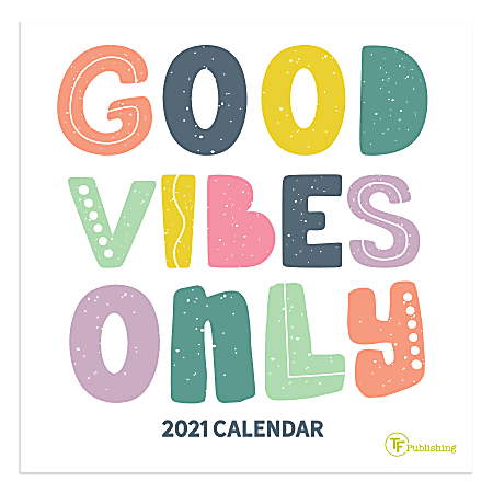 "TF Publishing Mini Inspirational Monthly Wall Calendar, 7"" x 7"", Good Vibes, January To December 2021"