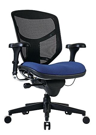 WorkPro® Quantum 9000 Series Ergonomic Mesh/Premium Fabric Mid-Back Chair, Black/Royal