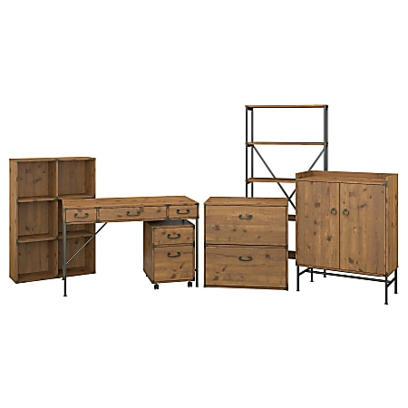 """kathy ireland® Home by Bush Furniture Ironworks 48""""W Writing Desk with File Cabinets, Bookcases and Storage, Vintage Golden Pine, Standard Delivery"""