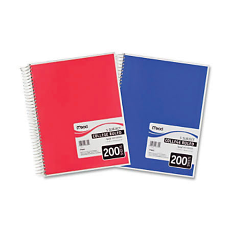 """Mead® Spiral® Notebook, 8 1/2"""" x 11"""", 5 Subject, College Ruled, 400 Pages (200 Sheets), Assorted Colors"""