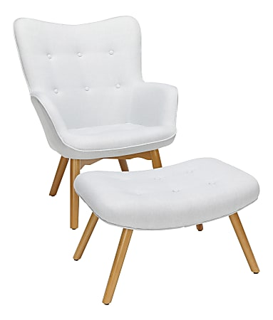 OFM 161 Collection Mid-Century Modern Tufted Lounge Chair With Ottoman, Light Gray