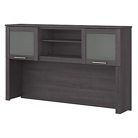 "Bush Furniture 60""W Hutch For L-Shaped Desk, Storm Gray, Standard Delivery"