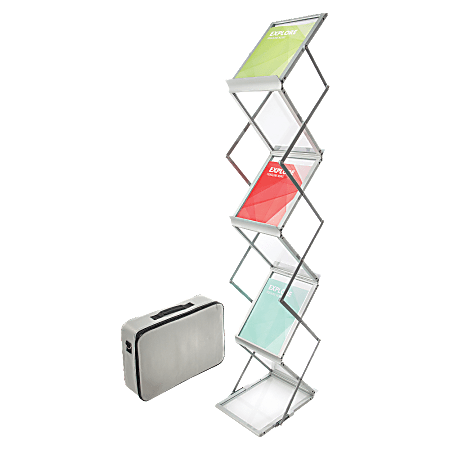 """Deflect-O® Collapsible Literature Floor Stand, 60""""H x 11 1/2""""W x 14 1/2""""D, Silver"""