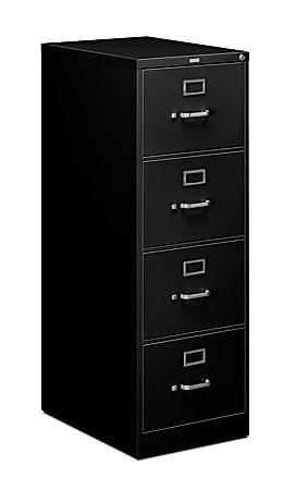 """HON® 510 25""""D Vertical 4-Drawer File Cabinet, Metal, Legal, Black"""