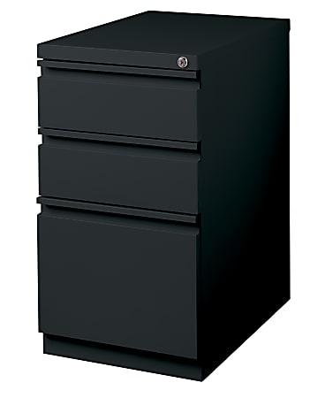 """WorkPro® 23""""D Vertical 3-Drawer Mobile Pedestal File Cabinet, Metal, Black"""
