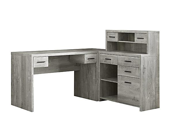 Monarch Specialties L-Shaped Computer Desk With Hutch, Gray Woodgrain