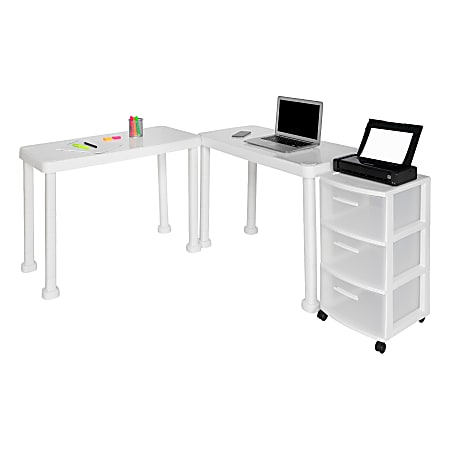 Inval Multi-Desk Set With Rolling Storage Cart, White