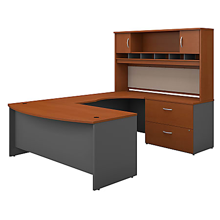 """Bush Business Furniture Components 72""""W Right-Handed Bow-Front U-Shaped Desk With Hutch And Storage, Auburn Maple/Graphite Gray, Premium Installation"""