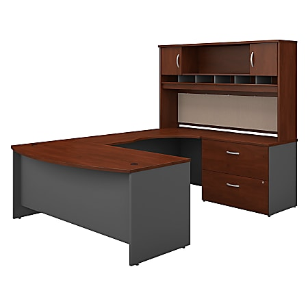 "Bush Business Furniture Components 72""W Right-Handed Bow-Front U-Shaped Desk With Hutch And Storage, Hansen Cherry/Graphite Gray, Premium Installation"