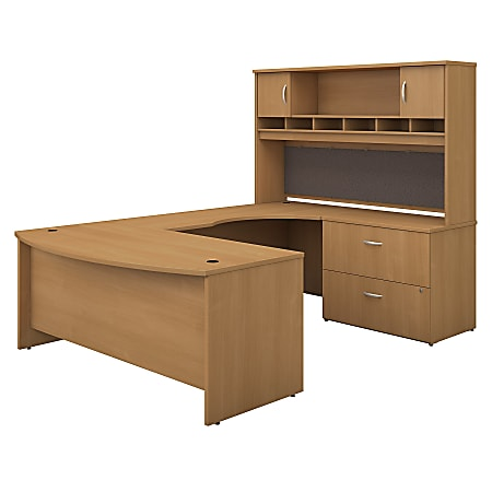 """Bush Business Furniture Components 72""""W Right-Handed Bow-Front U-Shaped Desk With Hutch And Storage, Light Oak, Premium Installation"""