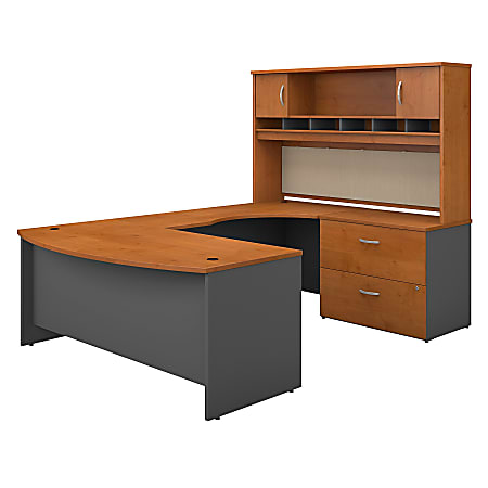 """Bush Business Furniture Components 72""""W Right-Handed Bow-Front U-Shaped Desk With Hutch And Storage, Natural Cherry/Graphite Gray, Premium Installation"""