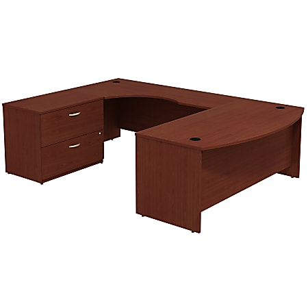 Bush Business Furniture Components Bow-Front Left-Handed U-Shaped Desk With Lateral File Cabinet, Mahogany, Premium Installation