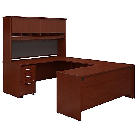 "Bush Business Furniture Components 72""W U-Shaped Desk With Hutch And Storage, Mahogany, Premium Installation"