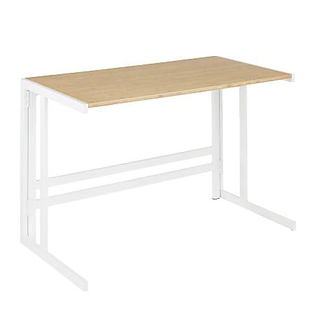 "LumiSource Roman 45""W Office Desk, White/Natural"