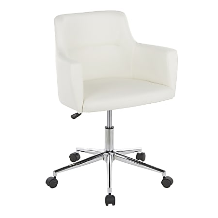 LumiSource Andrew Faux Leather High-Back Office Chair, Chrome/White