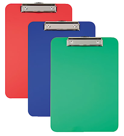 """Office Depot® Brand Acrylic Clipboard, 9"""" x 12-1/2"""", Assorted Colors, Pack Of 3"""