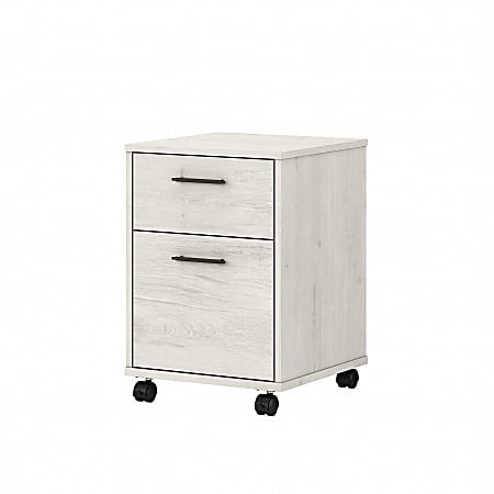 "Bush Furniture Key West 16""D Vertical 2-Drawer Mobile File Cabinet, Linen White Oak, Standard Delivery"