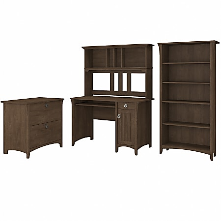 Bush® Furniture Salinas Mission Desk with Hutch, Lateral File Cabinet and 5 Shelf Bookcase, Ash Brown, Standard Delivery