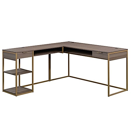 Sauder® International Lux L-Shaped Desk, Diamond Ash/Gold