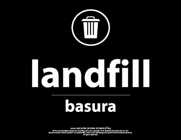 "Recycle Across America Landfill Standardized Recycling Labels, LAND-8511, 8 1/2"" x 11"", Black"