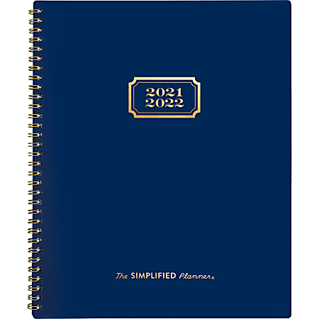 """AT-A-GLANCE® Simplified By Emily Ley Academic Weekly/Monthly Planner, 8-1/2"""" x 11"""", Navy, July 2021 To June 2022, EL63-900A"""