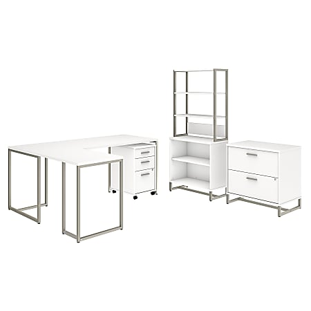 """kathy ireland® Office by Bush Business Furniture Method 72""""W L Shaped Desk with 30""""W Return, File Cabinets and Bookcase, White, Standard Delivery"""