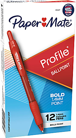 Paper Mate® Profile™ Retractable Ballpoint Pens, Bold Point, 1.4 mm, Translucent Barrel, Red Ink, Pack Of 12