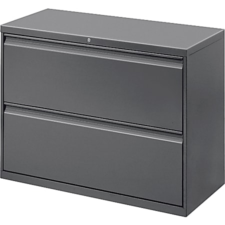 """Lorell® 42""""W Lateral 2-Drawer File Cabinet, Metal, Charcoal"""