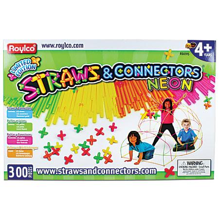 Roylco® Straws & Connectors™ 300-Piece Set, Neon, Pre-K To Grade 8