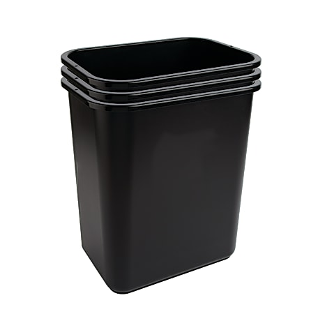 "Highmark™ Wastebaskets, 6.5 Gallons, 14-1/4""H x 10-1/8""W x 15""D, Black, Pack Of 3 Wastebaskets"
