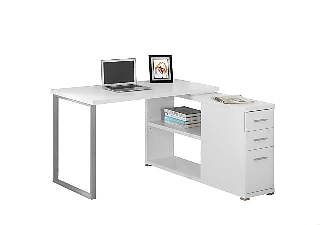 Monarch Specialties Left or Right Facing Corner Desk With Storage, White