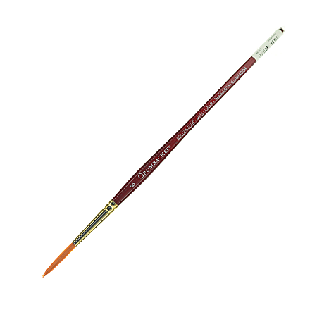 Grumbacher Goldenedge Watercolor Paint Brush, Size 6, Liner, Synthetic Filament, Dark Red