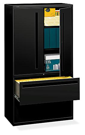 "HON® Brigade® 700 36""W Lateral 2-Drawer Combo File Cabinet, Metal, Black"