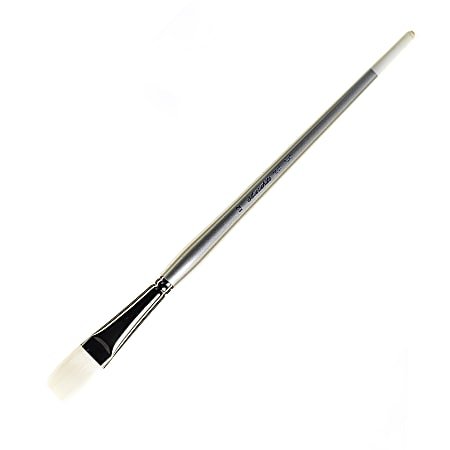 Silver Brush Silverwhite Series Long-Handle Paint Brush, Size 12, Flat Bristle, Synthetic, Multicolor